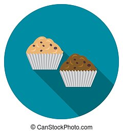 Flat design vector muffins icon