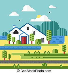 Flat Design Vector of Farm Landscape