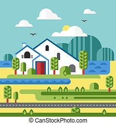 Flat Design Vector of Farm Landscape