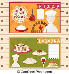 flat design vector posters of italian cuisine elements