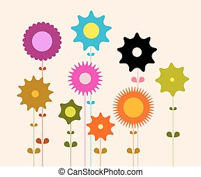 Flat Design Vector Retro Flowers