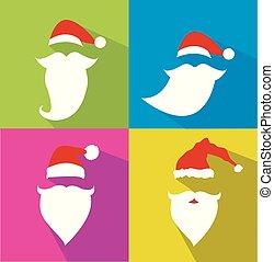 Flat Design Vector Santa Claus Face set