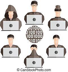 flat design vector set of different hackers
