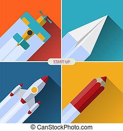 Flat design vector startup concept