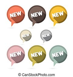 Flat Design Vector Stickers - Labels Set with New Title in Retro Colors