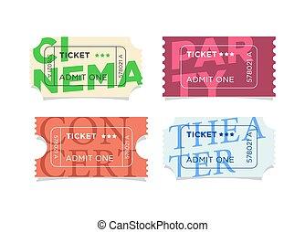 Flat design vector ticket set