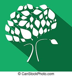 Flat Design Vector Tree on Green Background