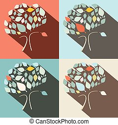 Flat Design Vector Trees Set