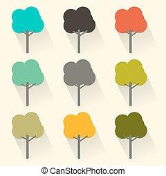 Flat Design Vector Trees Set