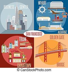 Flat design vectors of landmarks of San Francisco California,USA . Wharf , Alcatraz,Business Center ,Golden Gate bridge and Chinatown illustrations.