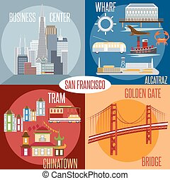 Flat design vectors of landmarks of San Francisco California,USA . Wharf , Alcatraz,Business Center ,Golden Gate bridge and Chinatown illustrations.