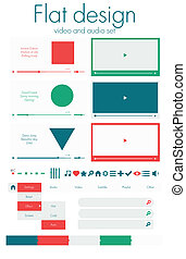 Flat design. Video and audio sets