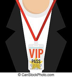Flat Design VIP Lanyard Vector Illustration