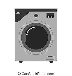flat design washing machine icon vector illustration