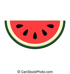 watermelon slice icon - flat design watermelon slice icon...