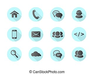 Flat design web, communication icons