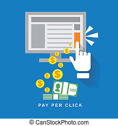 flat design web marketing pay per click internet advertising
