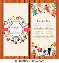 Flat design wedding and marriage invitation card template