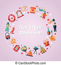 Flat design wedding and marriage proposal circle postcard