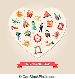 Flat design wedding and marriage proposal heart postcard