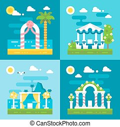 flat design wedding arch decoration