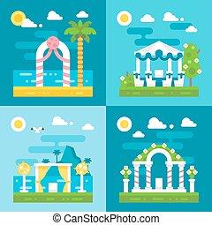 flat design wedding arch decoration