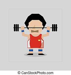 Flat Design Weight Lifter Sportman Lifting Heavyweight Barbell Vector Illustration.