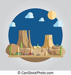 Flat design western desert illustration vector