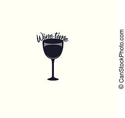 Flat Design Wine Icon - Wine Time