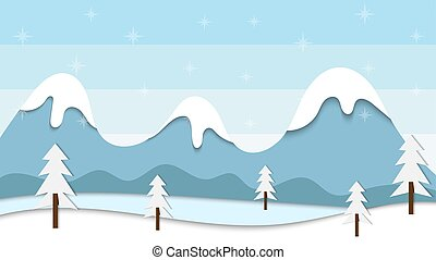 Flat design winter background with mountain and pine tree illustration