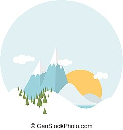 Flat design winter snowy landscape