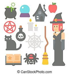 Flat design witch item set