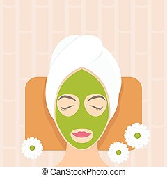 Flat design woman in natural mask . Vector illustration