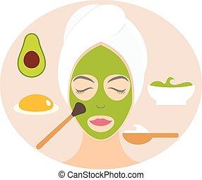 Flat design woman in natural mask of yogurt, egg yolk and avocado. Vector illustration