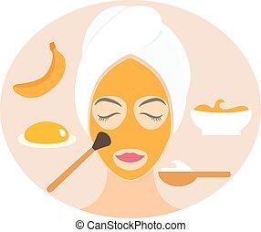 Flat design woman in natural mask of yogurt, egg yolk and banana. Vector illustration