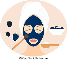 Flat design woman in natural mask of yogurt, egg yolk and blackberry. Vector illustration