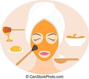 Flat design woman in natural mask of yogurt, egg yolk and honey. Vector illustration