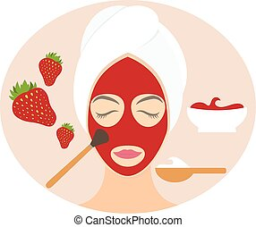 Flat design woman in natural mask of yogurt, egg yolk and strawberry. Vector illustration