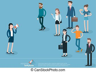 Flat design  woman promoter with loudspeaker