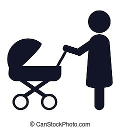 woman with baby stroller icon