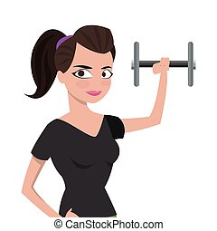 woman with fitness outfit lifting dumbbell icon
