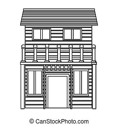 wooden house icon - flat design wooden house icon vector ...