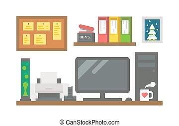 Flat design working desk decor