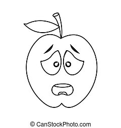 worried apple cartoon icon