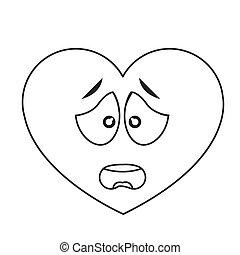 worried heart cartoon icon