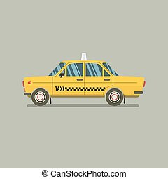 Flat Design Yellow Taxi Vector Illustration