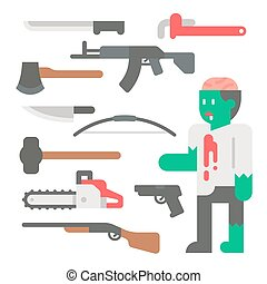 Flat design zombie apocalypse item set