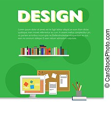 Flat Designer Workplace Elements Template