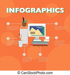 Flat Designer Workplace Infographic Concept