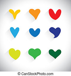 flat designs of colorful heart shape icons - vector graphic